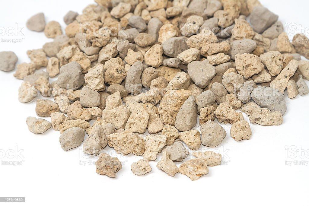 pumice pebbles for gardening ( lightweight volcanic rock ) stock photo