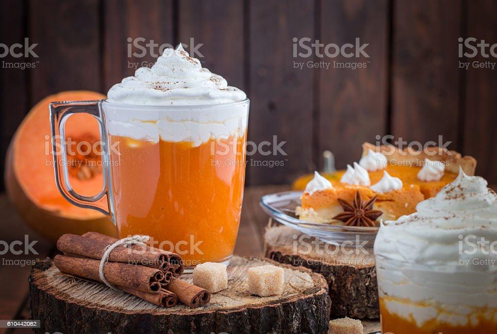 Pumkin Pie and Pumpkin Smoothie With Cream stock photo