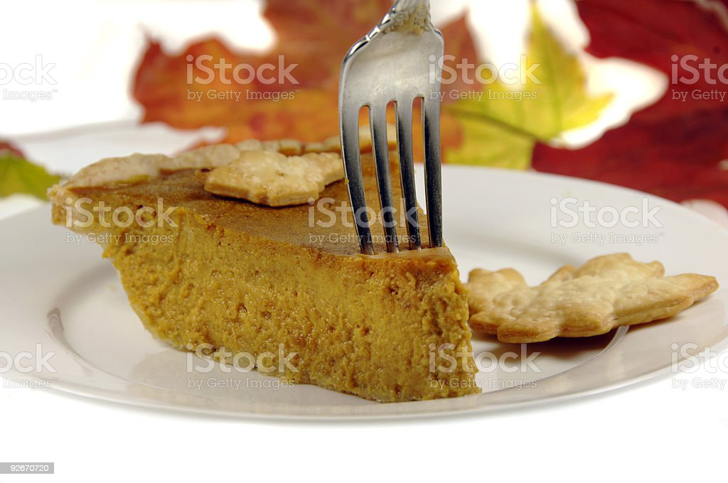 Pumkin Pie with Fall Leaves royalty-free stock photo