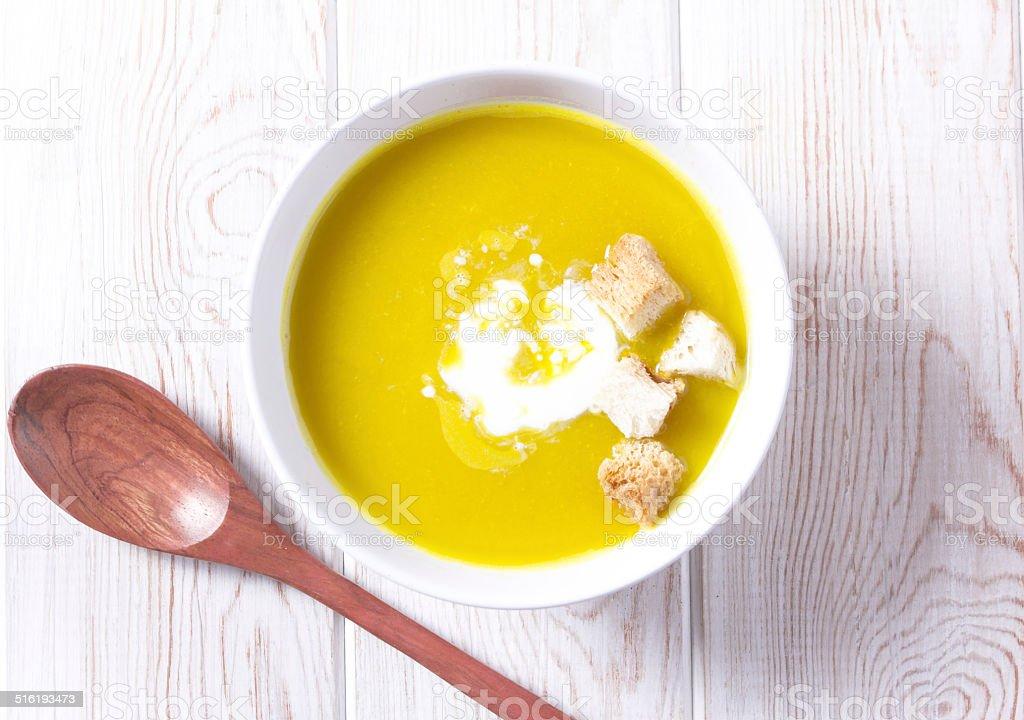 pumkin soup top view stock photo
