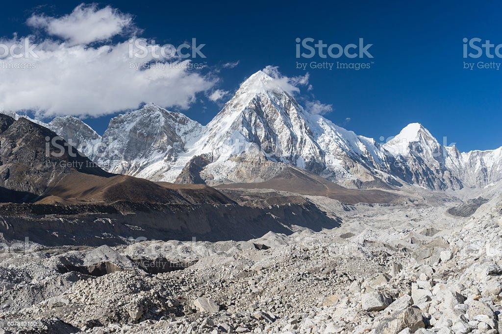Pumori mountain and Khumbu glacier, Everest region stock photo