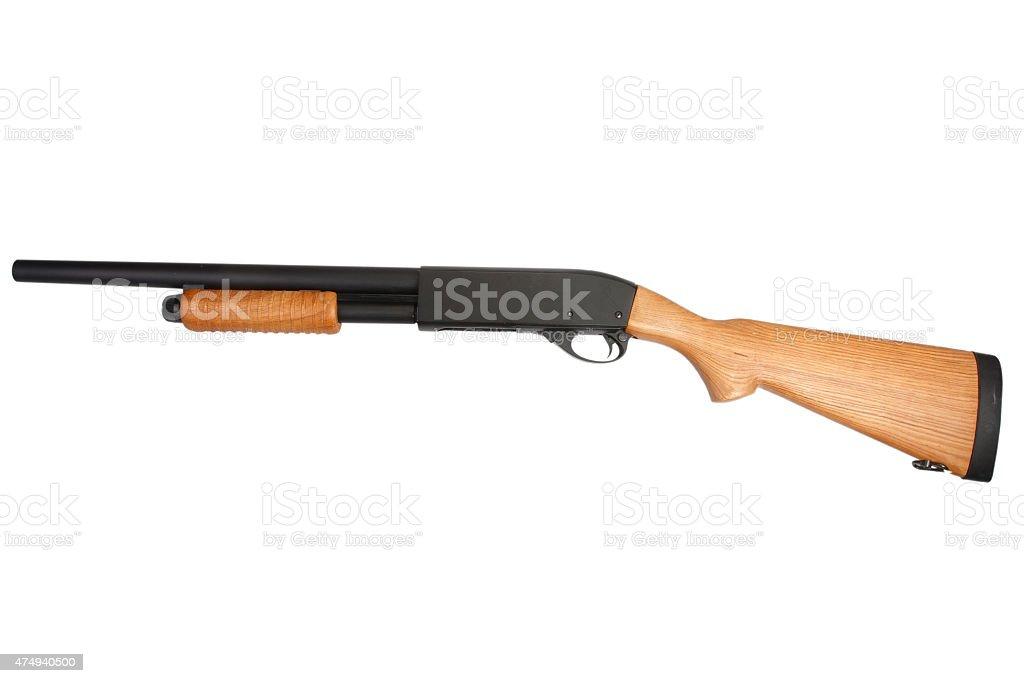 pump action shotgun isolated on white stock photo