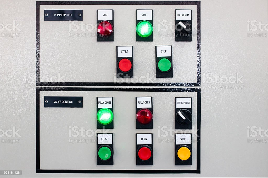 Pump and valve control panel stock photo