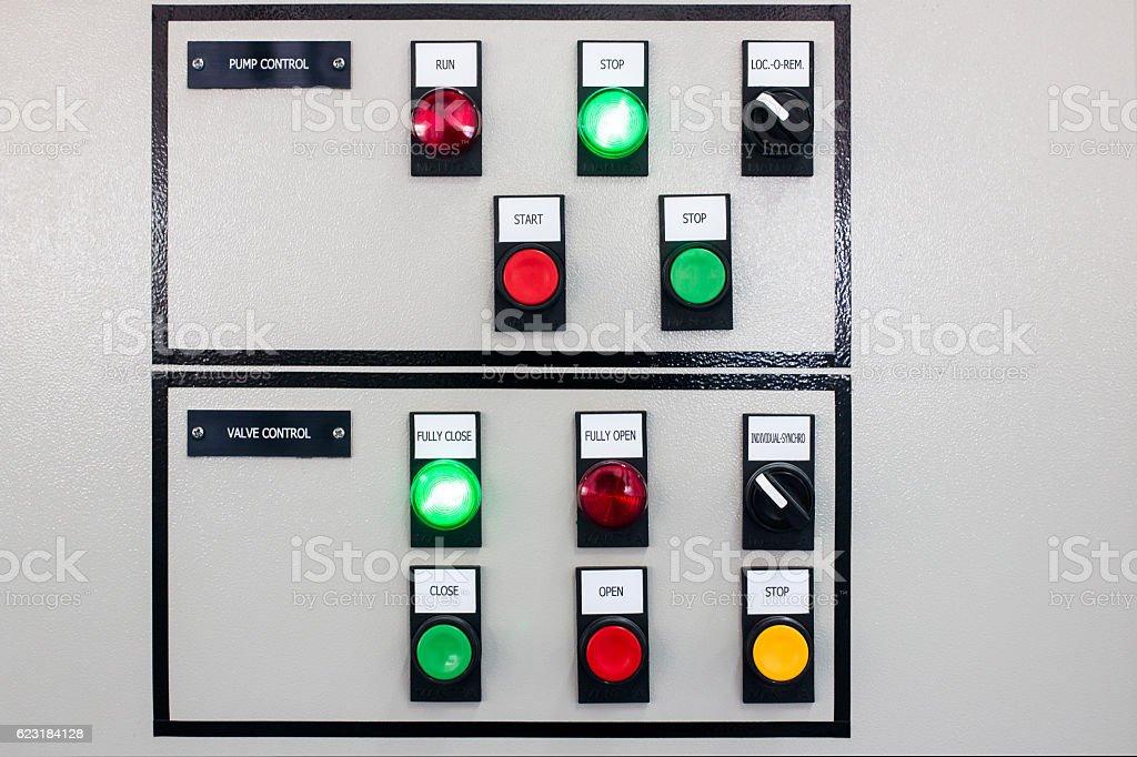 Pump and valve control panel stock photo
