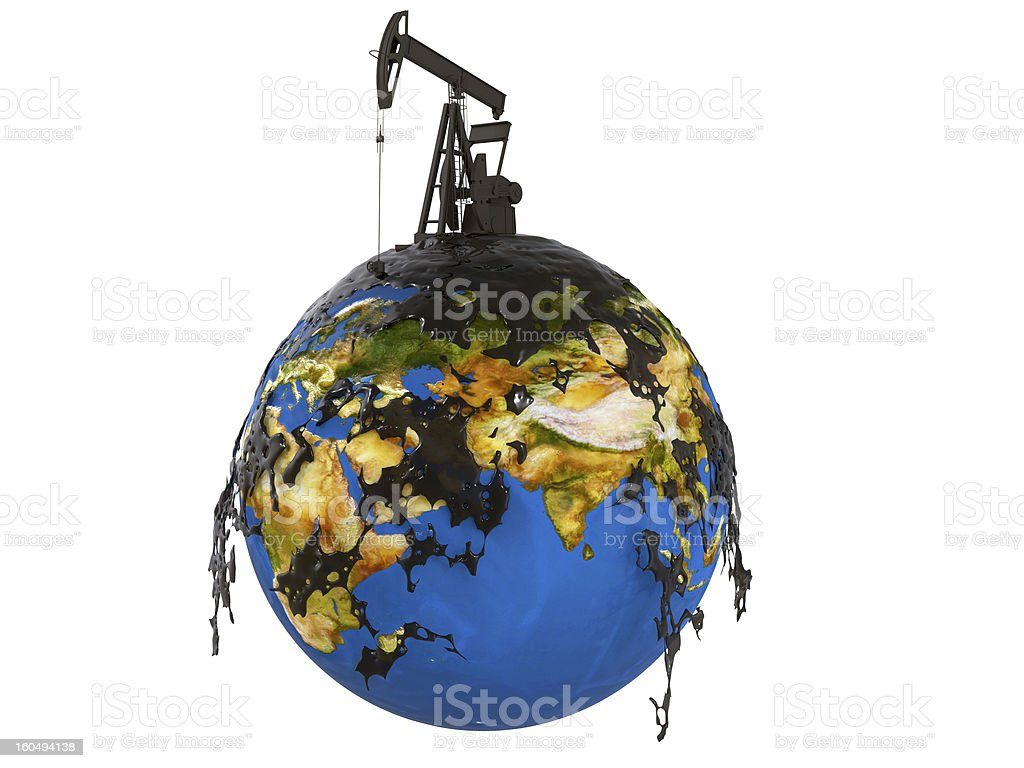 Pump jack and oil spill over planet earth royalty-free stock photo