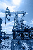 Pump jack and wellhead in the oil field