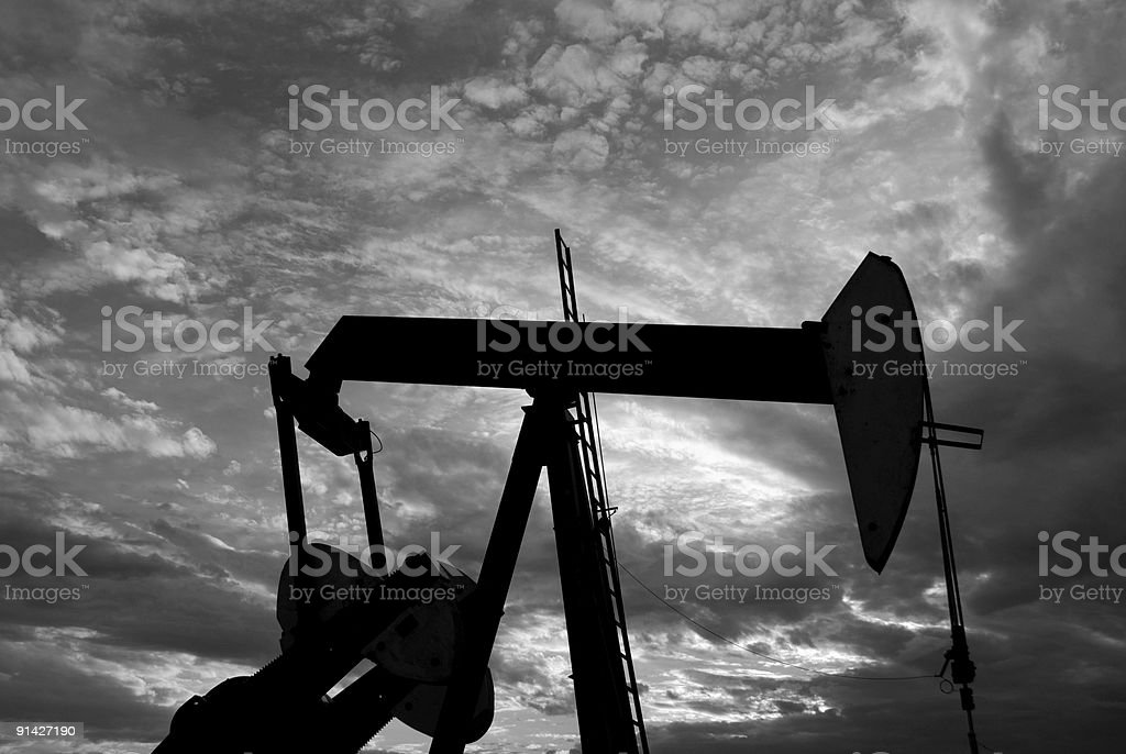pump Jack in Black and White royalty-free stock photo