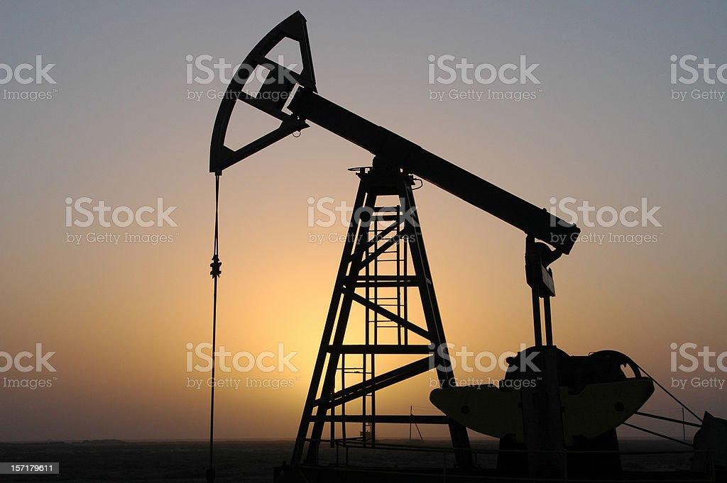 Pump jack silhouette royalty-free stock photo