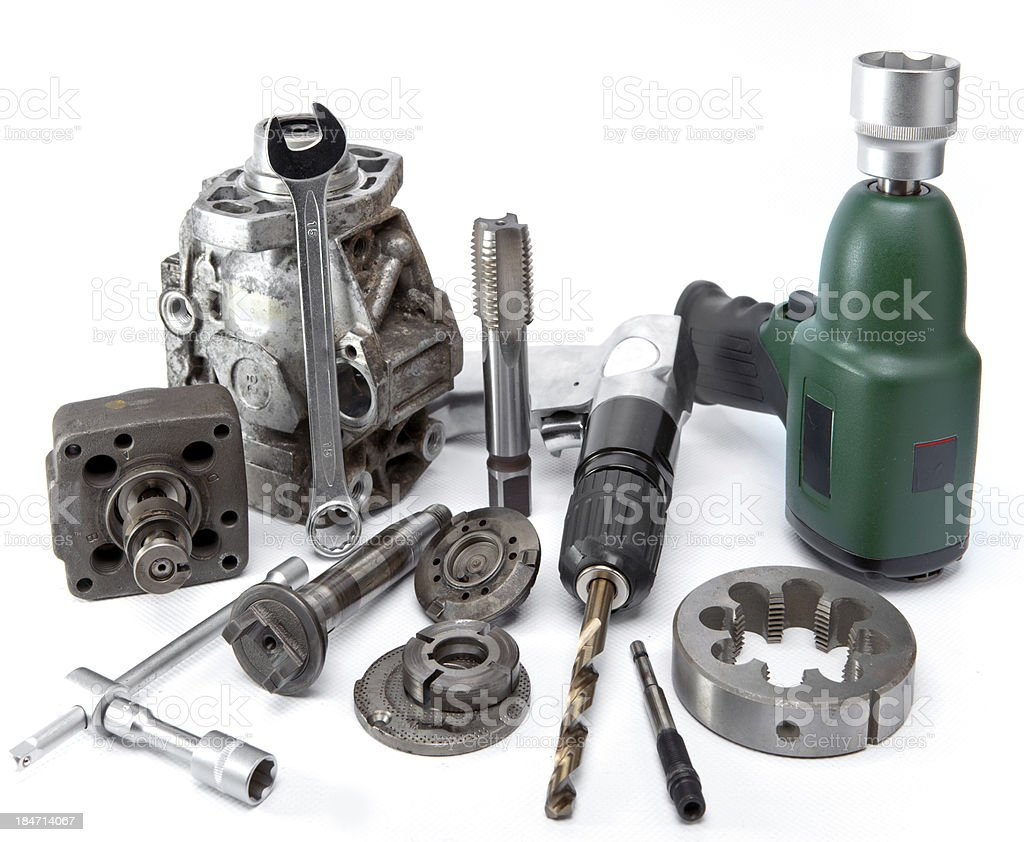 pump of high pressure, air impact wrench and drill stock photo