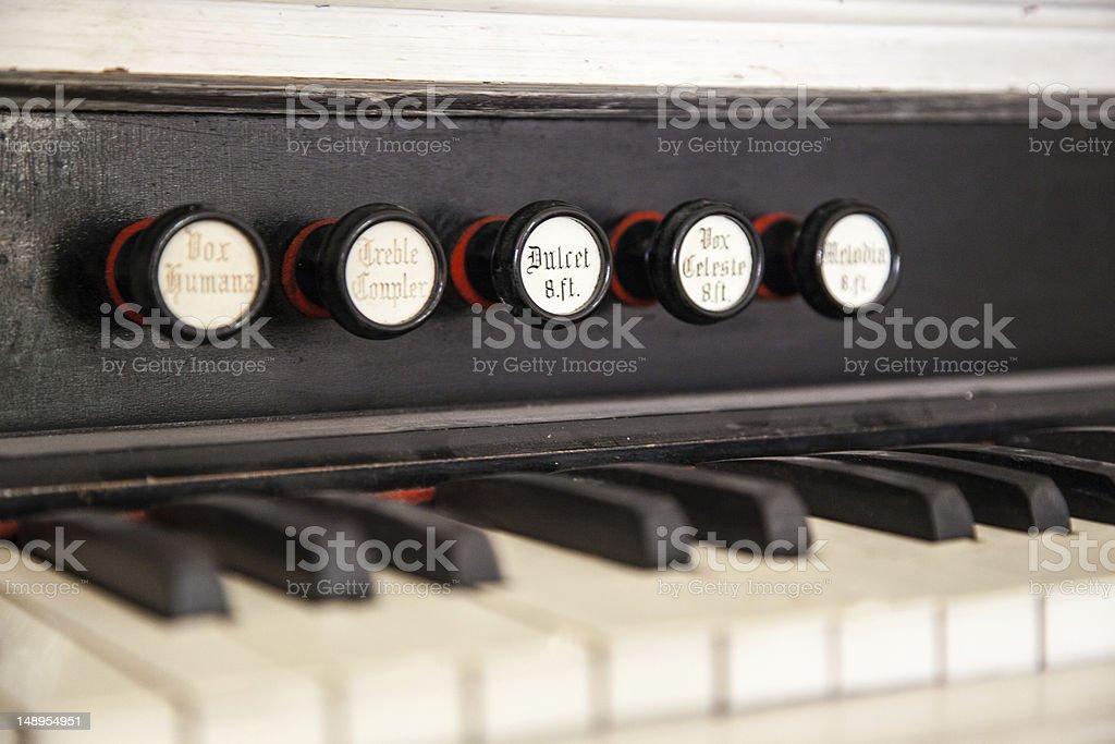 Pump Organ Stops royalty-free stock photo