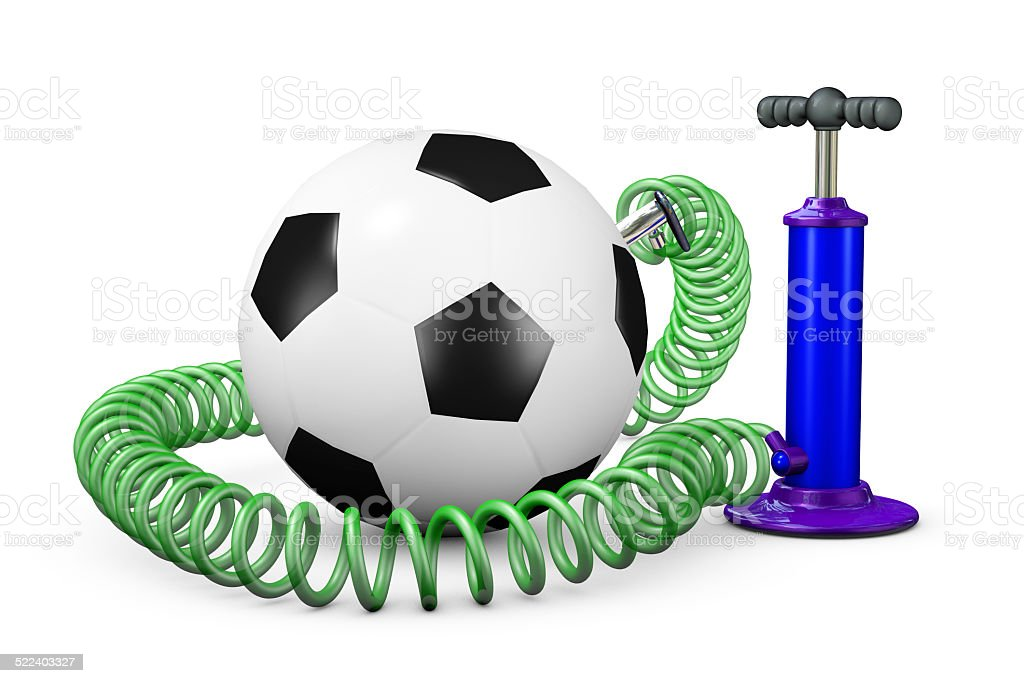 Pump pumps up air in a ball stock photo