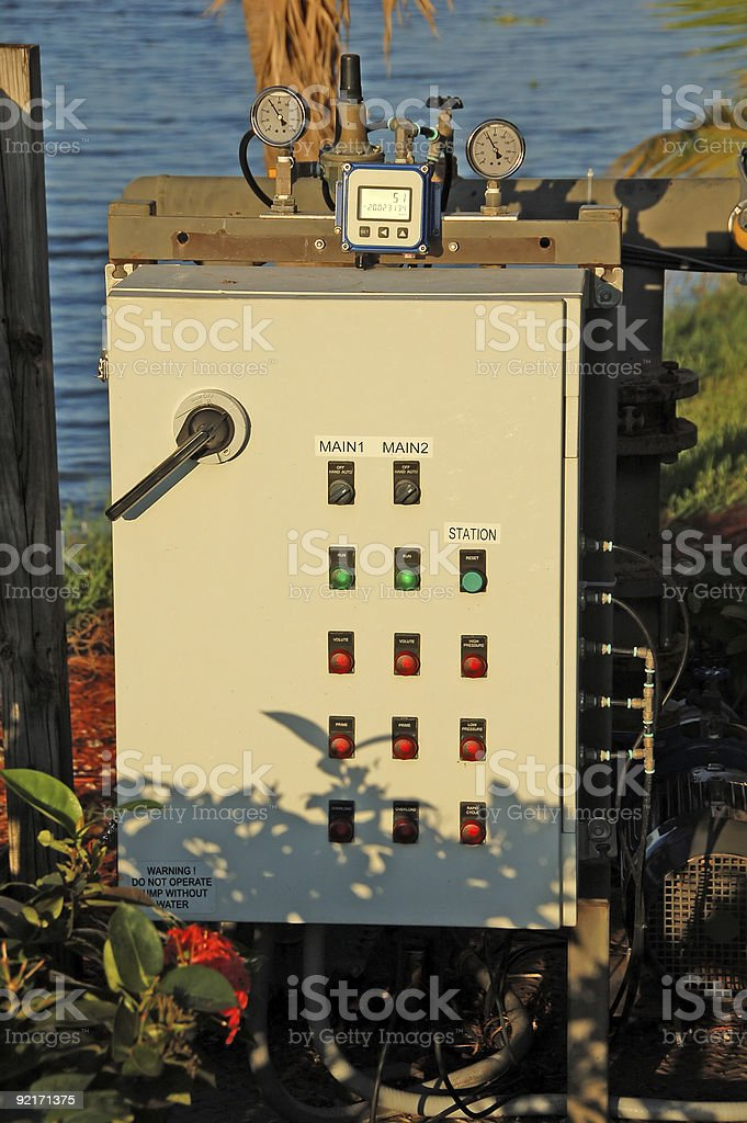 Pump station control box royalty-free stock photo