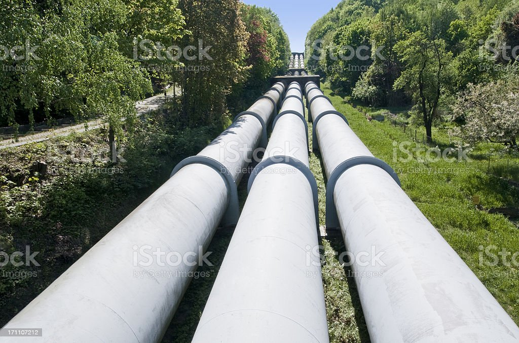 Pumped-storage power station with three pipelines stock photo
