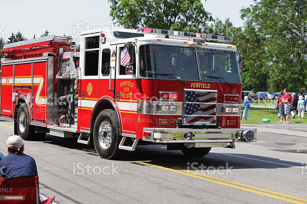 Pumper Truck Fire Engine in July 4th Parade stock photo