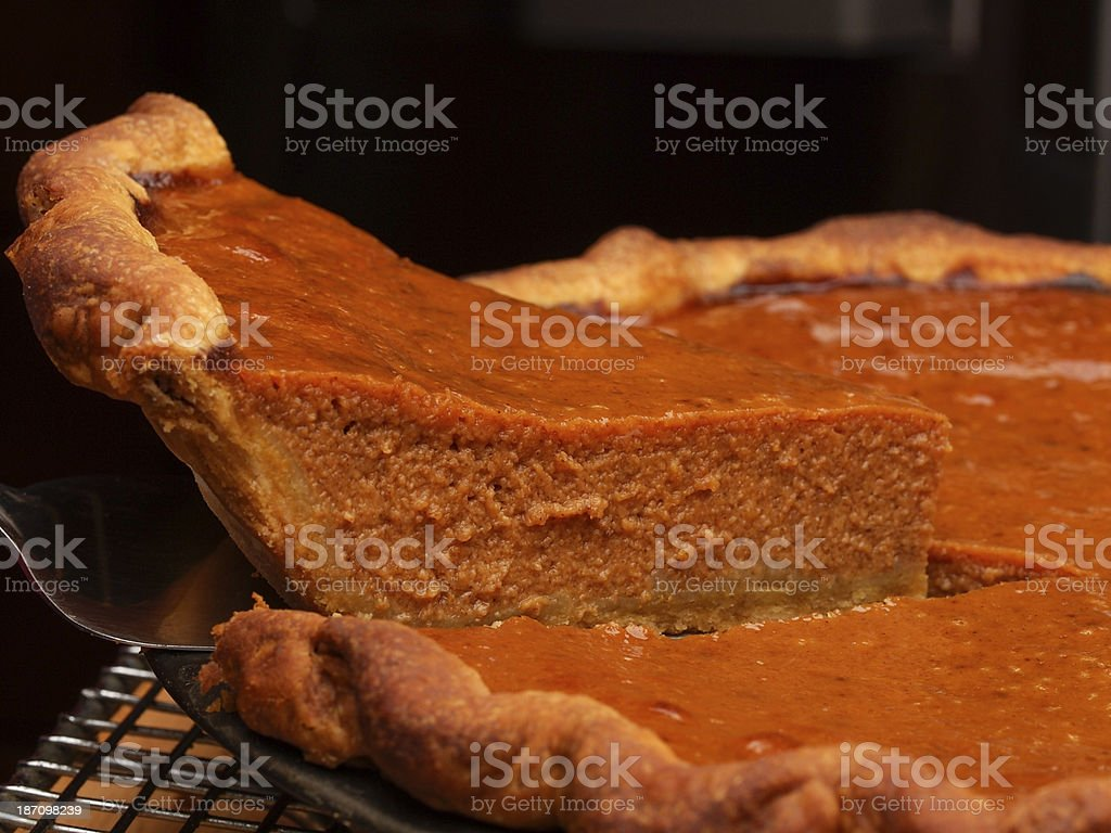 Pumpin Pie Serving royalty-free stock photo