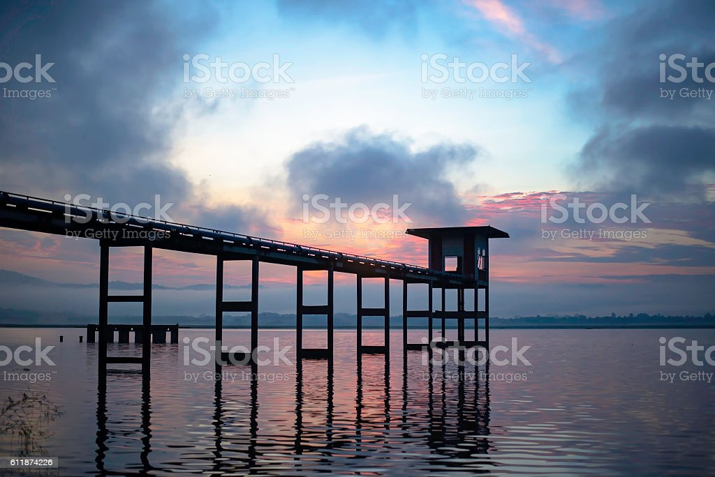 Pumping plant in the reservoir, Bangphra, Thailand stock photo