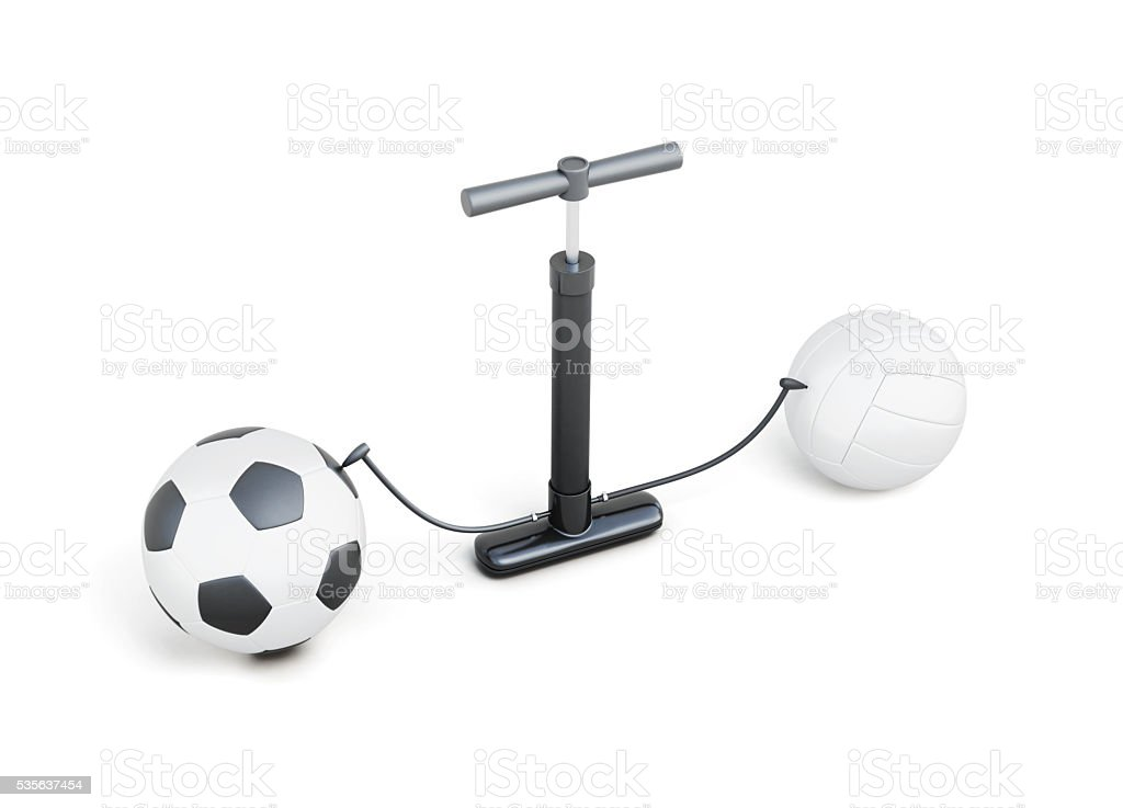 Pumping up balls hand pump isolated on white background. stock photo
