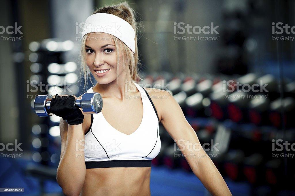 Pumping up biceps royalty-free stock photo