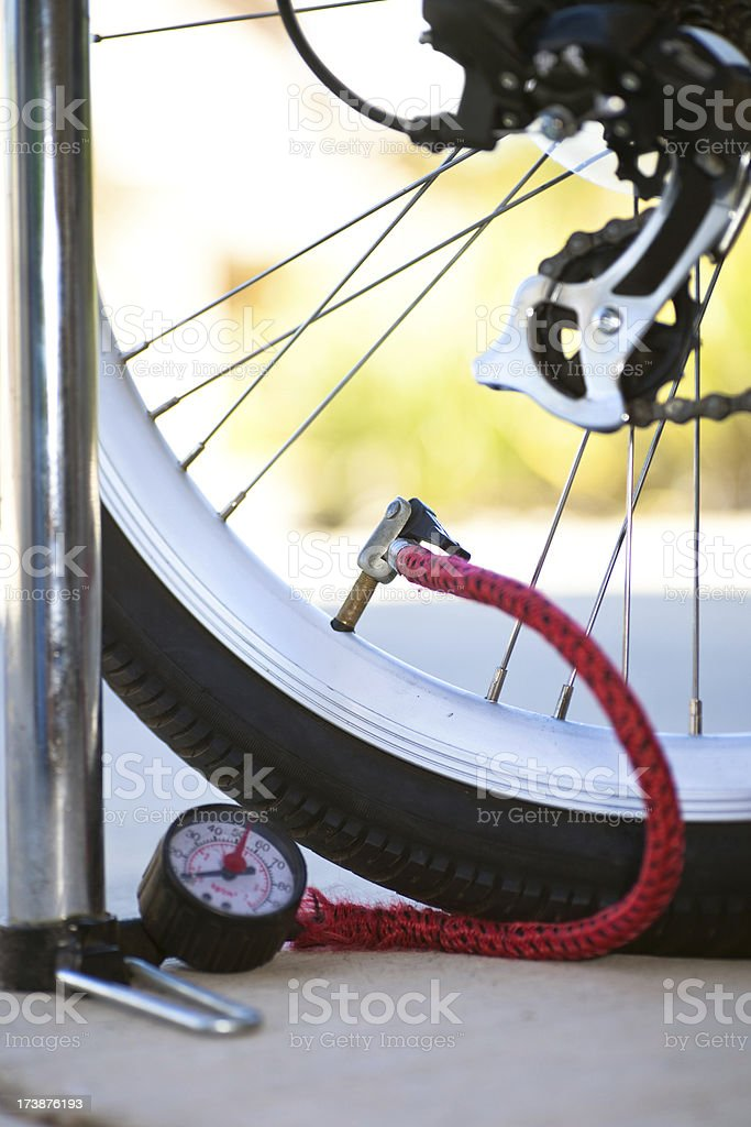 Pumping Up Bicycle Tire royalty-free stock photo