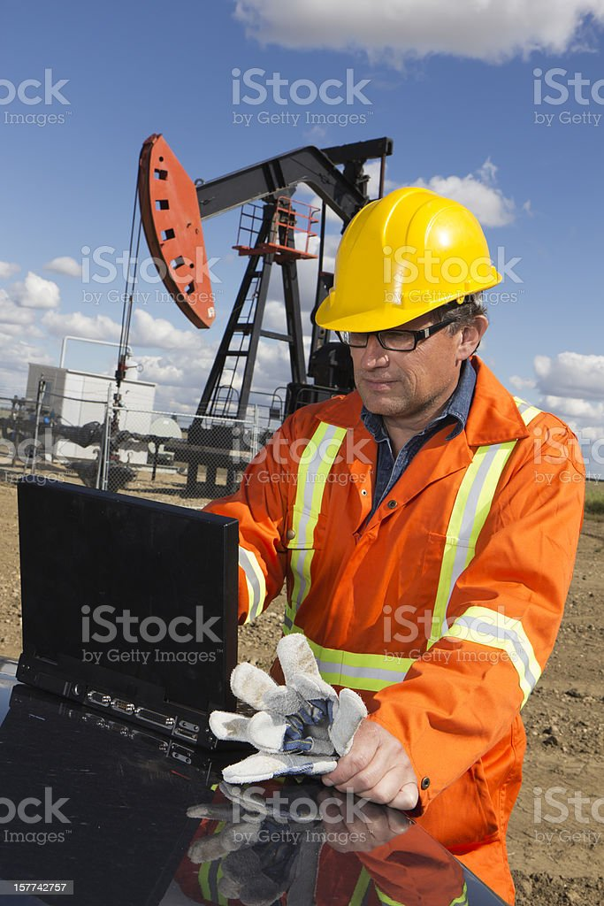 Pumpjack and Computer royalty-free stock photo