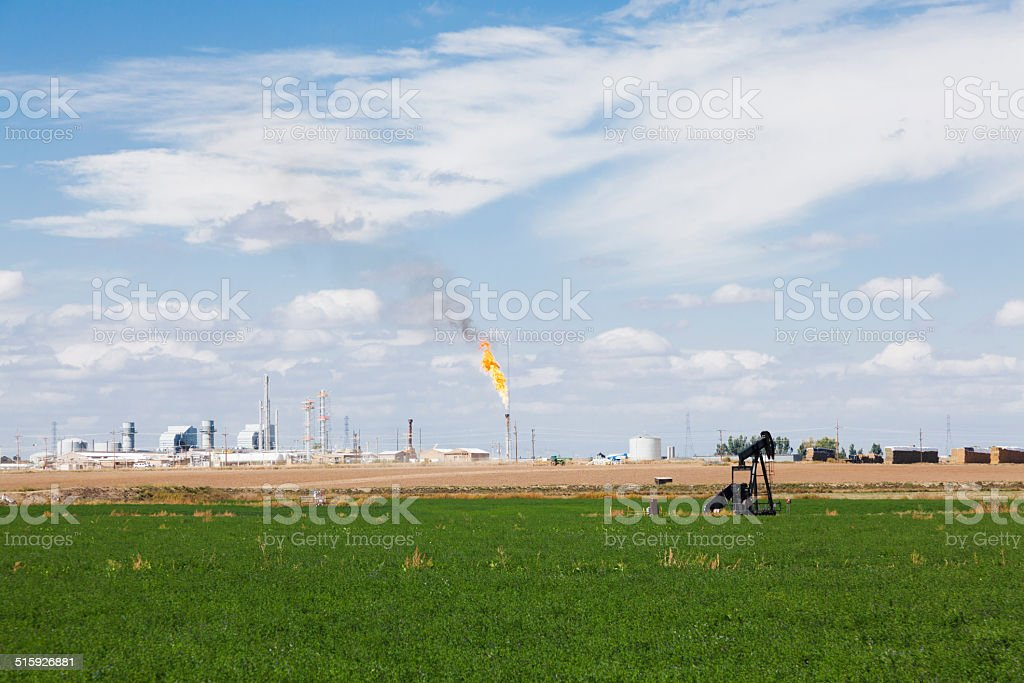 Pumpjack and oil excavation in Colorado stock photo