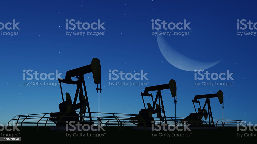 pumpjack and sunset stock photo