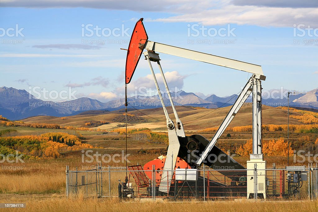 Pumpjack in Alberta in Fall stock photo
