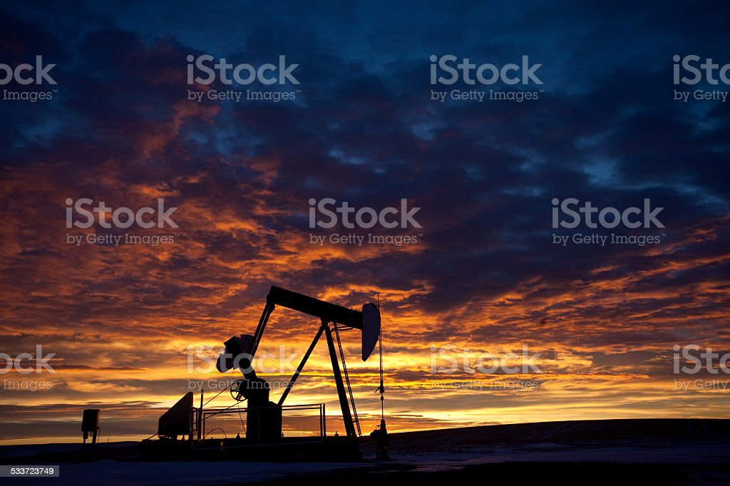 Pumpjack in Alberta Oil Field stock photo