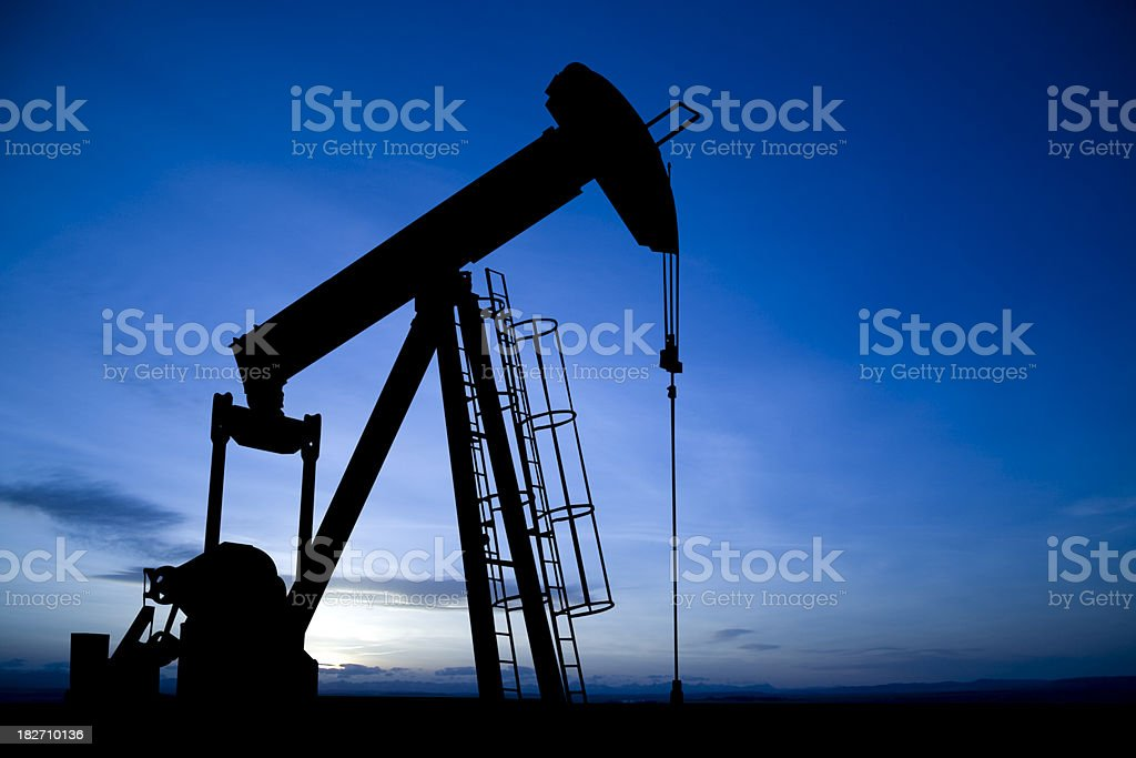 Pumpjack on Blue stock photo
