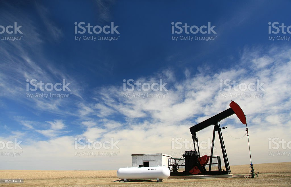Pumpjack on Oil Field in Alberta royalty-free stock photo