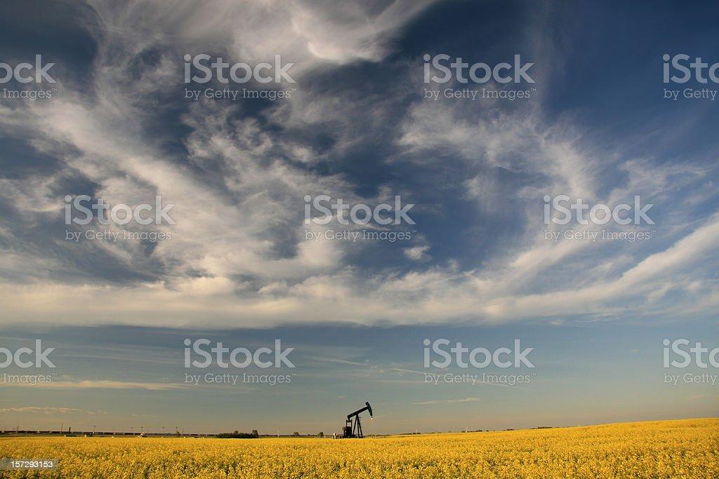 Pumpjack on the Plains stock photo