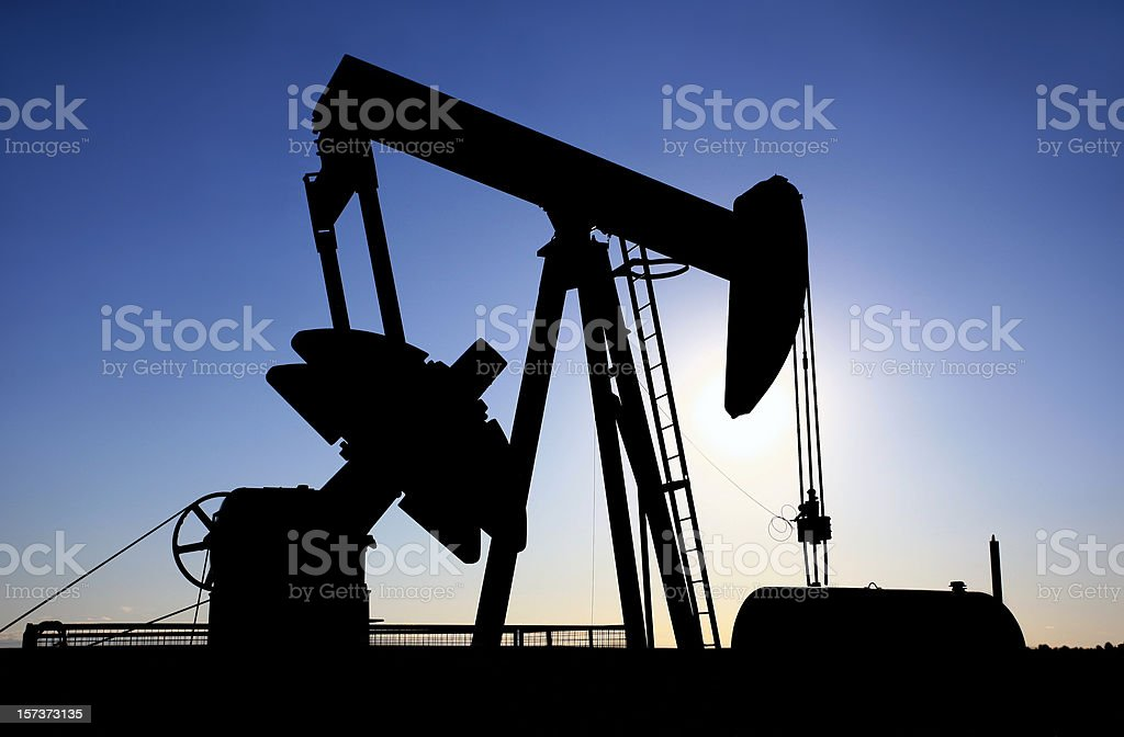 Pumpjack Silhouette in Texas royalty-free stock photo
