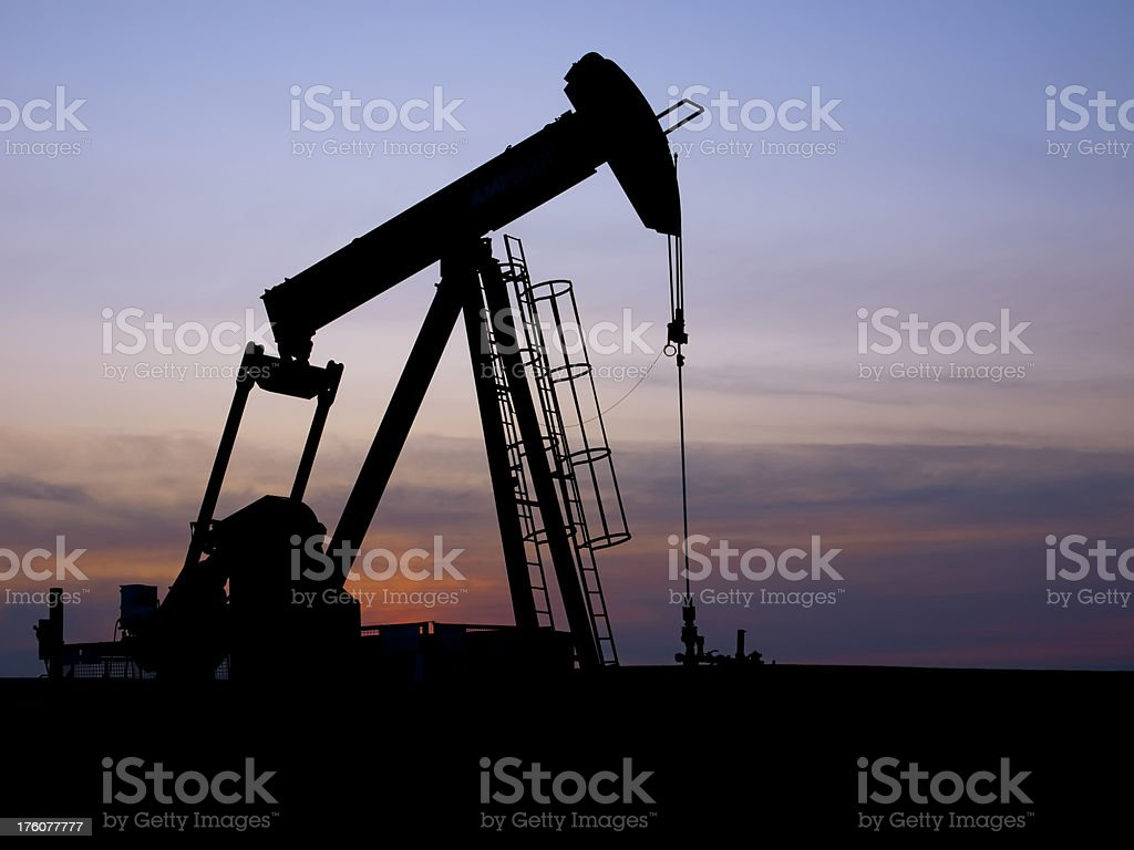 Pumpjack Silhouette on Plain royalty-free stock photo