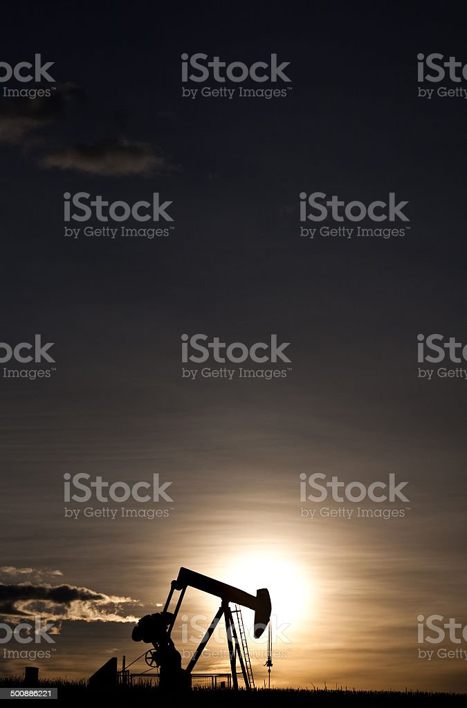 Pumpjack Silhouette stock photo