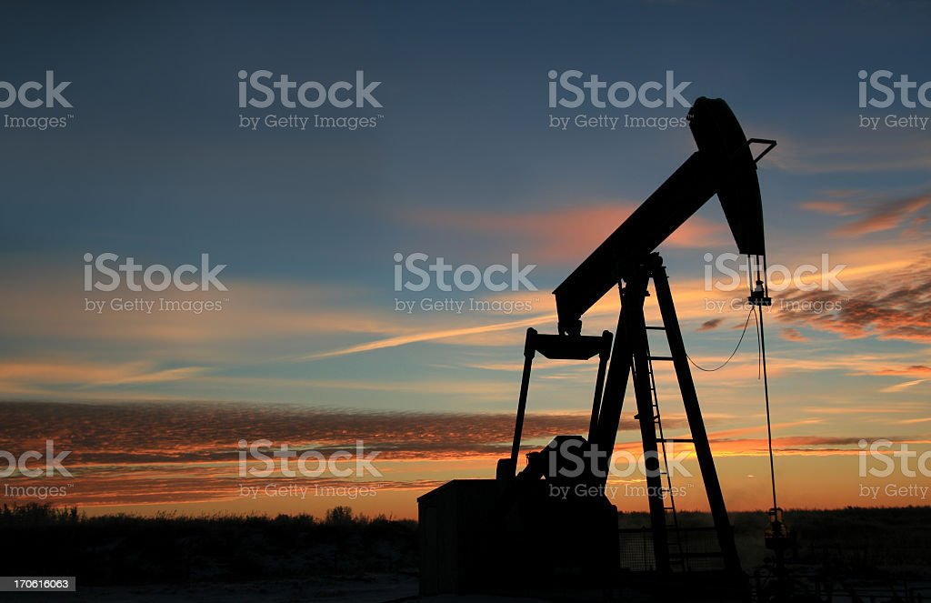 Pumpjack Silhoutte in Texas royalty-free stock photo