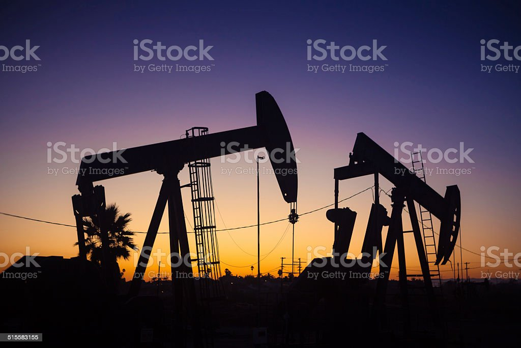 Pumpjacks At Dusk In The Inglewood Oil Field royalty-free stock photo