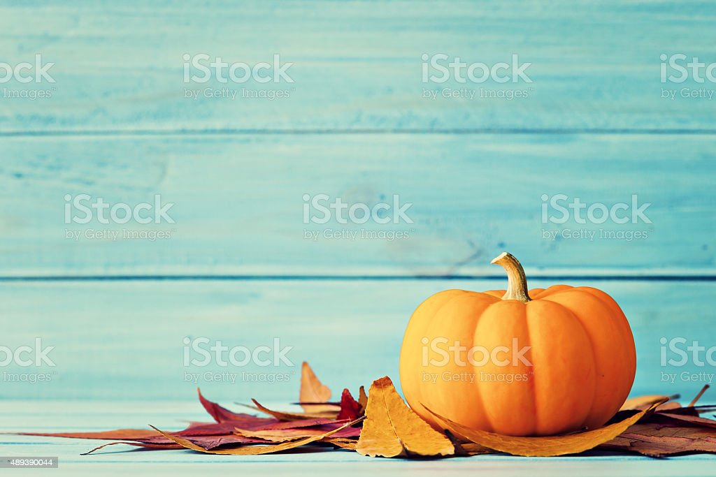 Pumpkin and autumn leafs stock photo