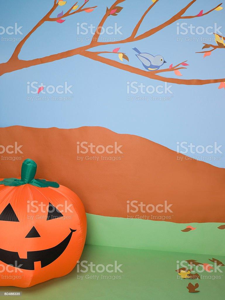 Pumpkin and autumn scene royalty-free stock photo