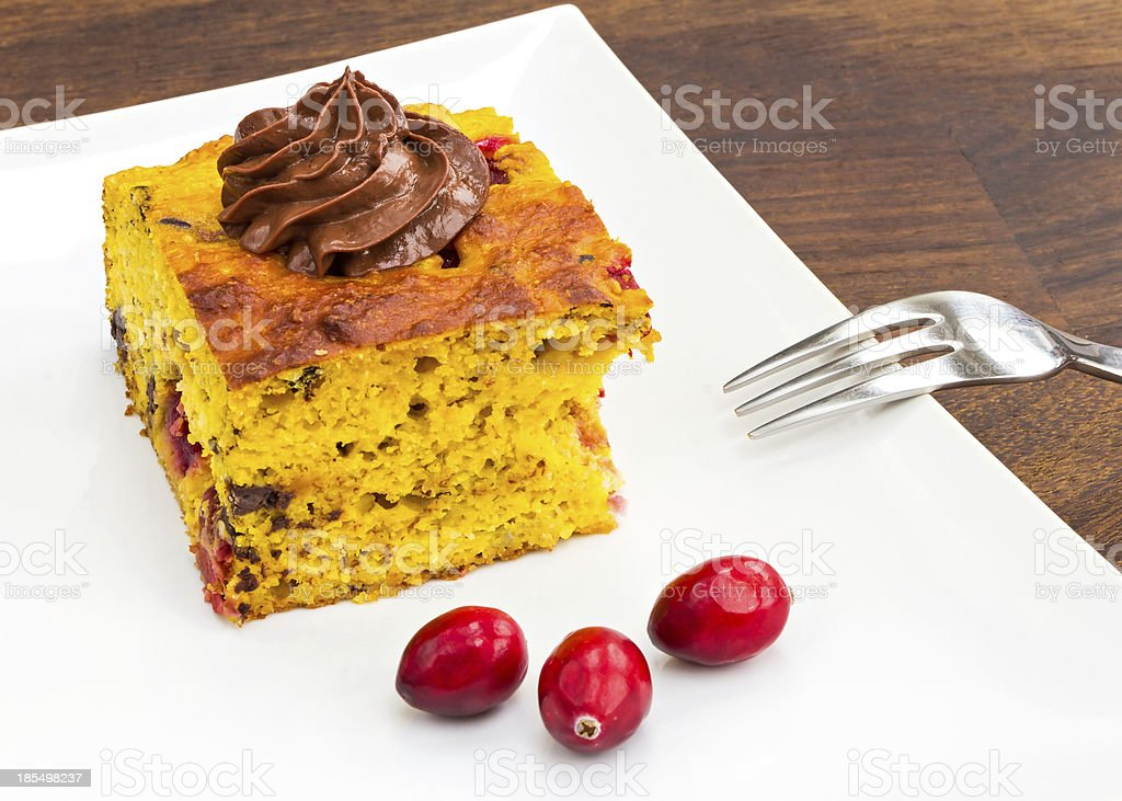 Pumpkin and cranberry cake royalty-free stock photo