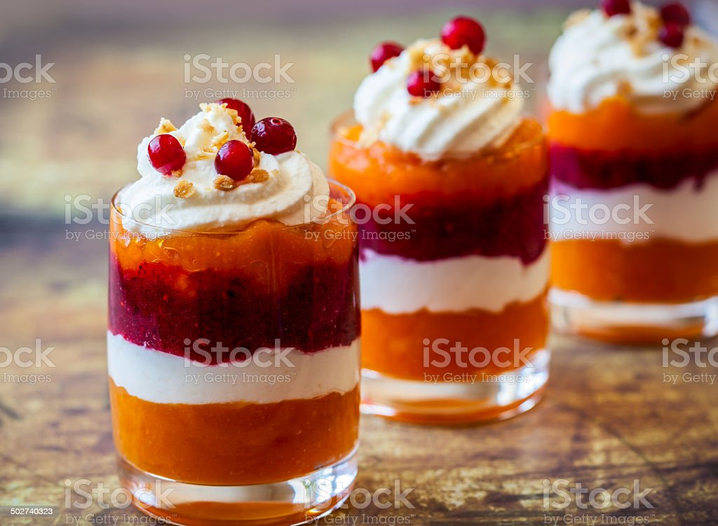 Pumpkin and cranberry dessert stock photo