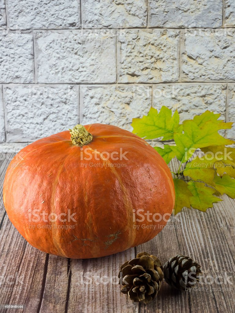Pumpkin and fir cones on wooden ground stock photo