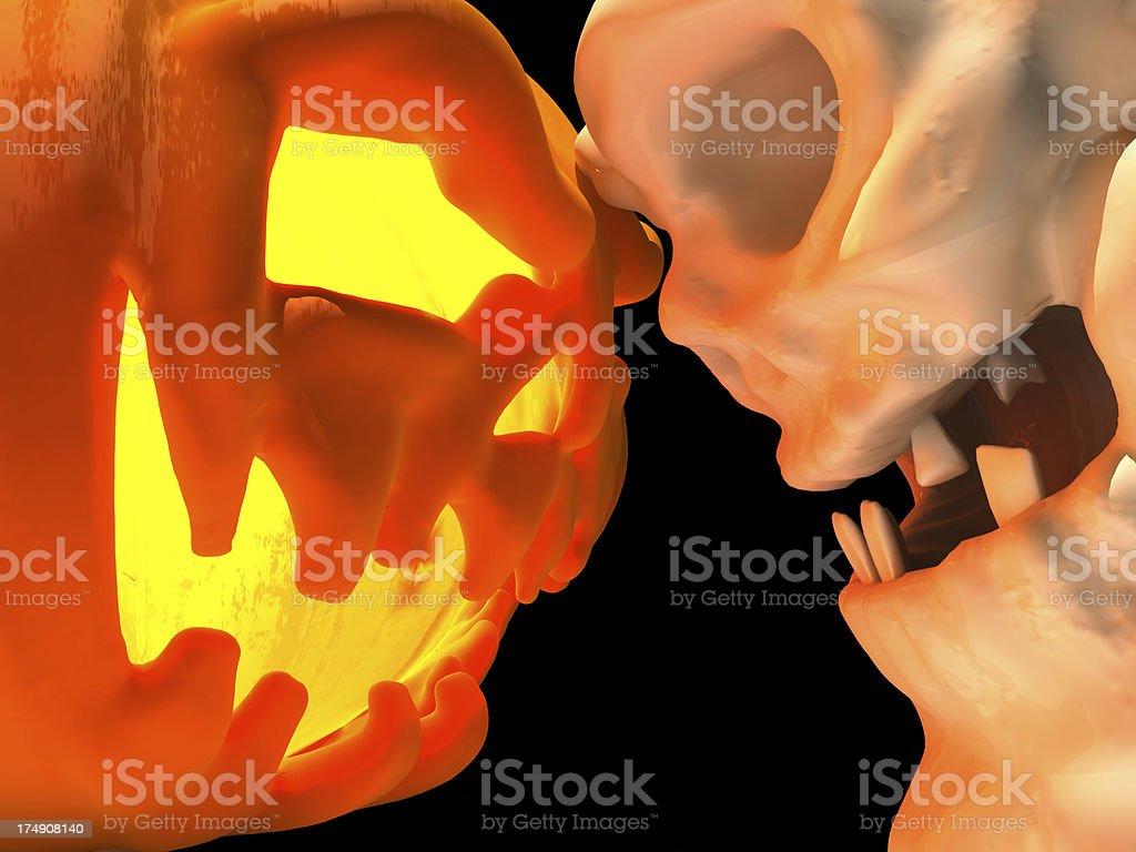 pumpkin and Skull stock photo