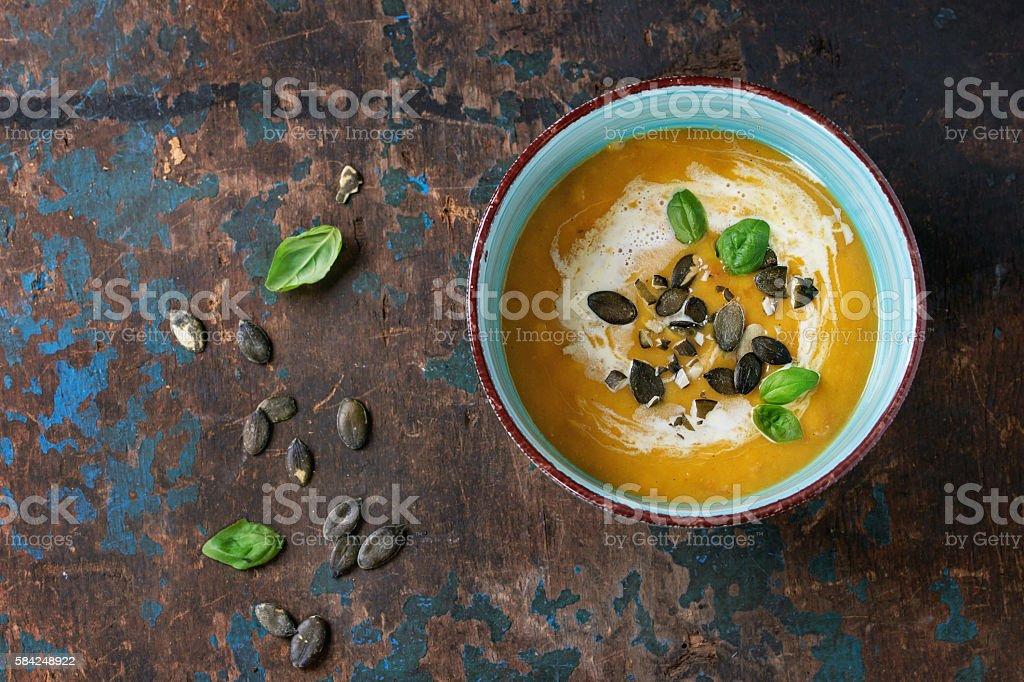 Pumpkin and sweet potato soup stock photo