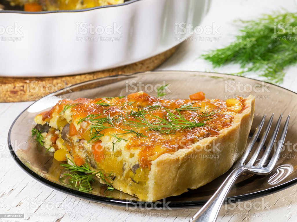 Pumpkin and vegetable tart with cheese royalty-free stock photo