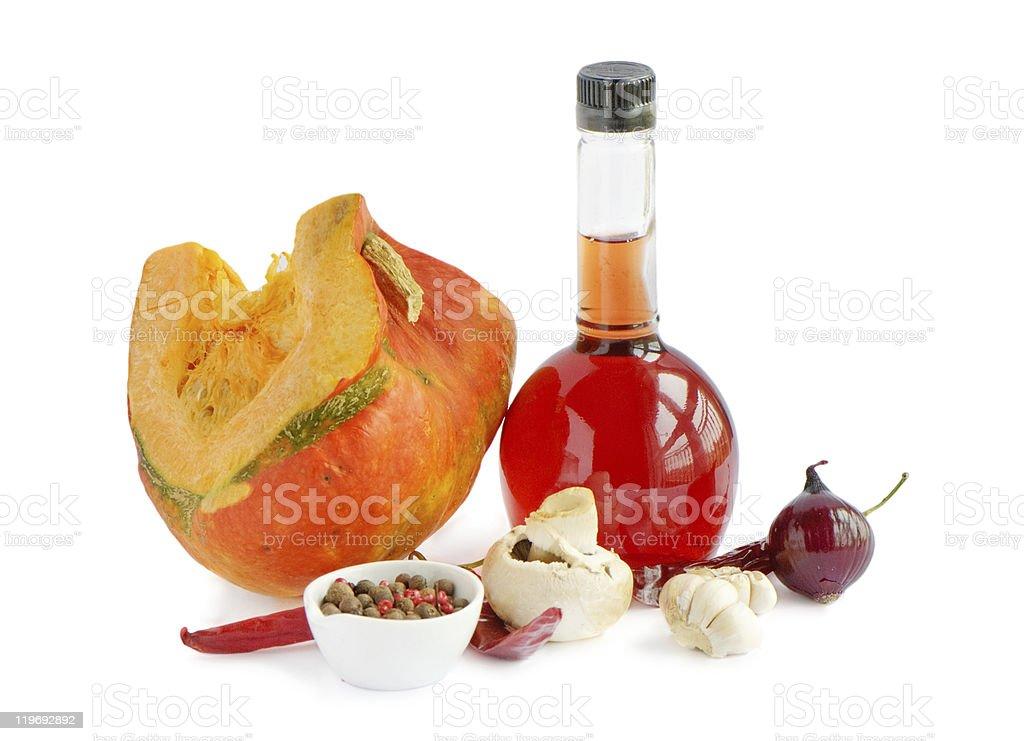 Pumpkin and vinegar royalty-free stock photo