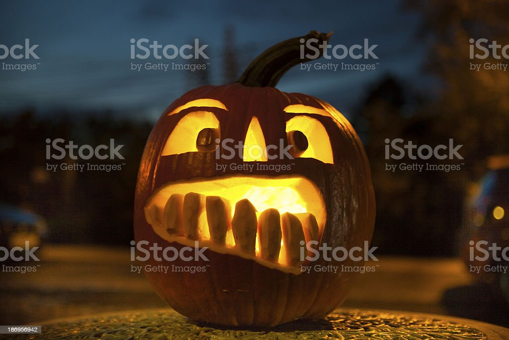 Pumpkin at the night stock photo