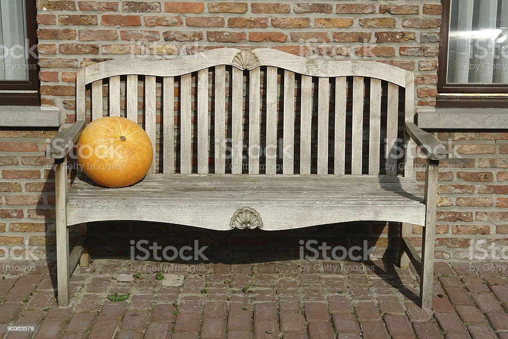 Pumpkin bench royalty-free stock photo