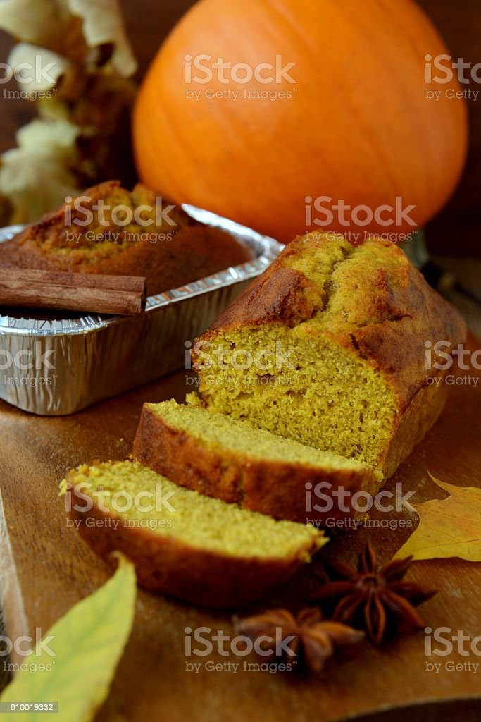 Pumpkin bread stock photo