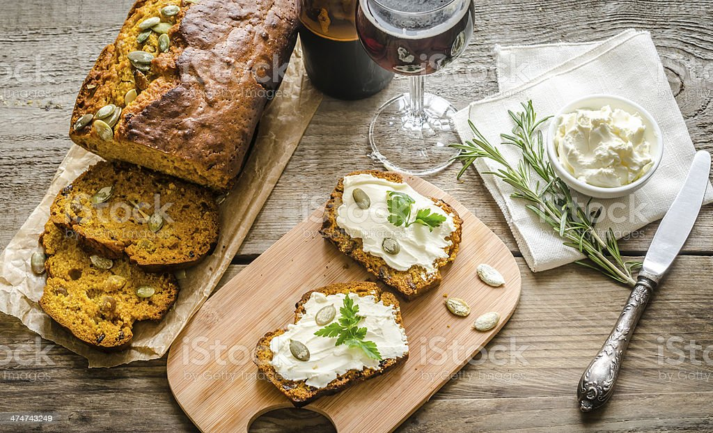 Pumpkin bread with cream cheese royalty-free stock photo