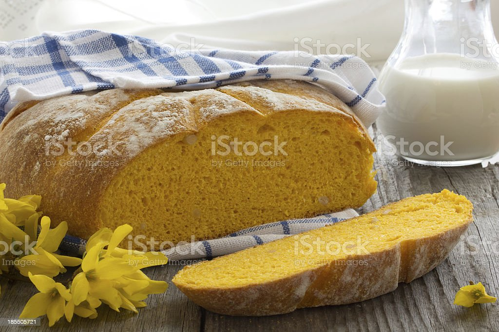 Pumpkin bread with nuts. royalty-free stock photo